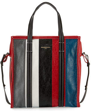 Balenciaga Bazar Shopper Small Striped Leather Shopper Tote Bag, Gray/White/Black/Blue (Gris/Blanc/Noir/Rouge/Bleu)