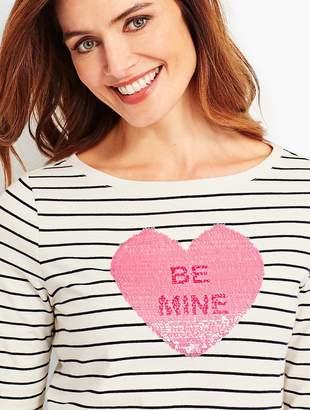 "Talbots Stripe ""Be Mine"" Heart Tee"