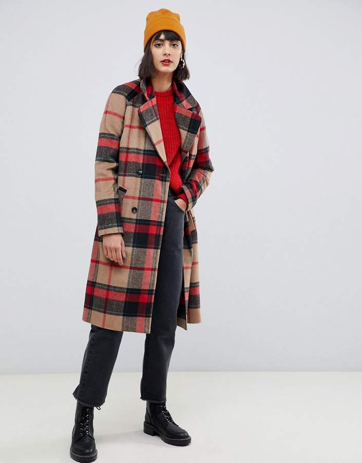 double breasted check coat