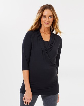 Angel Maternity Maternity V-Neck Crossover Bamboo Work Top