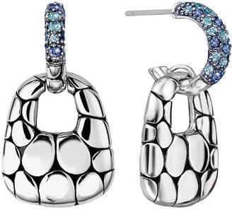 John Hardy Kali Silver Lava Drop Earrings w/ Swiss Blue Topaz & Iolite