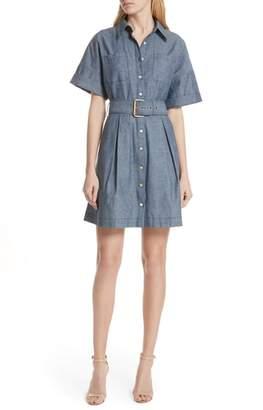 Diane von Furstenberg Button Up Cotton Chambray Shirtdress