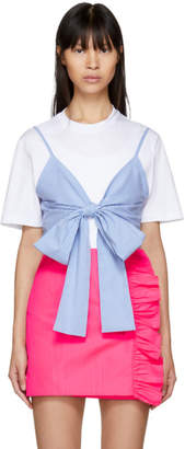 MSGM White and Blue Striped Bra T-Shirt