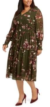 Taylor Plus Size Smocking-Trim Ruffled Midi Dress