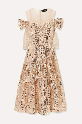 Simone Rocha Cold-shoulder Sequined Tulle Midi Dress - Gold