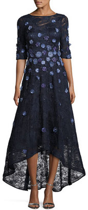 Rickie Freeman for Teri Jon Floral Lace High-Low Cocktail Dress, Navy $1,360 thestylecure.com