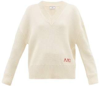 Ami V Neck Woven Logo Wool Sweater - Womens - Ivory