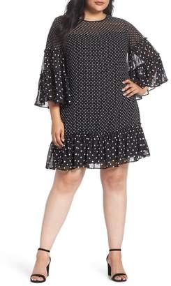 Eliza J Bell Sleeve Polka Dot Chiffon Shift Dress