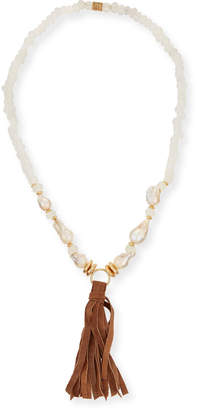 Neiman Marcus Akola Long Pearl & Java Glass Tassel Necklace