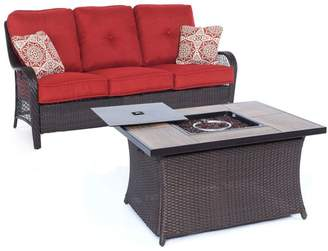Hanover Outdoor Orleans 2-Piece Woven Fire Pit Set With Wood Grain Table Top