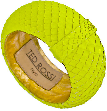 Ted Rossi Large Neon Yellow Python Bangle
