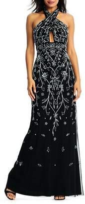 Aidan Mattox Embellished Halter Gown