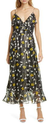 Joie Kenny Floral Metallic Stripe Silk Dress