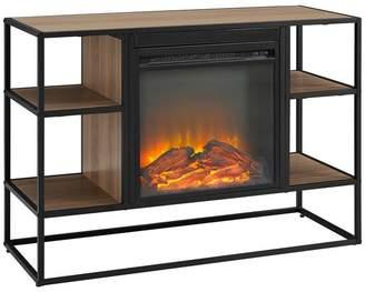 Walker Edison 40 Urban Industrial Metal and Wood Open-Shelf Fireplace TV Stand