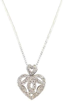 18K White Gold & Diamond Heart Necklace