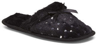 Plush Satin Bow And Sequined Slippers