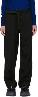 Issey Miyake Reversible Black Wool Slub Trousers