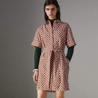 Burberry Tiled Archive Print Cotton Shirt Dress , Size: 10, Pink