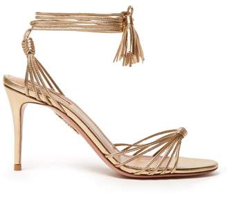 Aquazzura Mescal 85 Wrap Around Leather Sandals - Womens - Gold