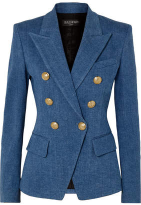 Balmain Double-breasted Denim Blazer - Blue