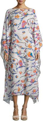 Emilio Pucci Ranuncoli Cotton Voile Caftan Coverup, White/Pink $990 thestylecure.com