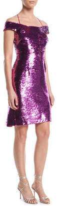 Aidan Mattox Sequin Back-Ruffle Dress