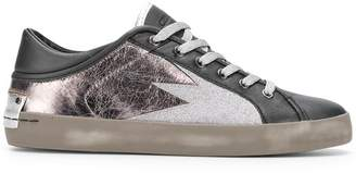 Crime London metallic lace-up sneakers