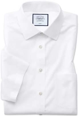 Charles Tyrwhitt Slim Fit Non-Iron White Natural Cool Short Sleeve Cotton Dress Shirt Size 15.5/Short