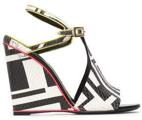 Emilio Pucci Printed Snake-Effect Leather Wedge Sandals
