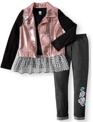 Wonder Nation Moto Vest, Chiffon Hem Top, and Legging, 3-Piece Outfit Set (Little Girls & Big Girls)