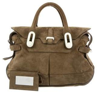Balenciaga Suede Leather-Trimmed Satchel