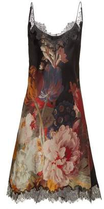 Carine Gilson Lace Trimmed Silk Satin Slip Dress - Womens - Black Red Print