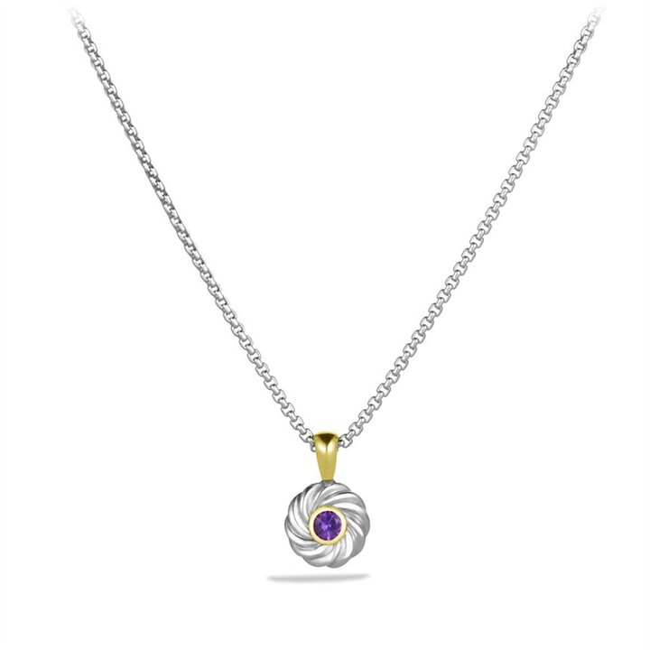 David Yurman Cable Kids February Birthstone Pendant with Amethyst and Gold on Chain