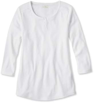 L.L. Bean L.L.Bean Double L Rib-Knit Tee, Three-Quarter-Sleeve Henley