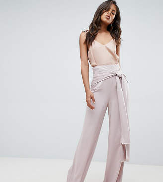 Asos Tall DESIGN Tall Occasion Oversized Tie Front Wide Leg Pants