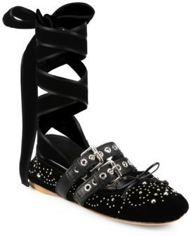 Miu Miu Strapped Studded Velvet Lace-Up Ballet Flats $890 thestylecure.com