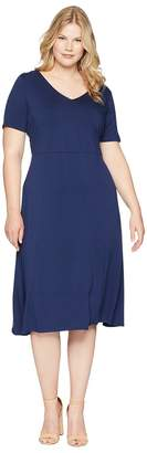 Vince Camuto Specialty Size Plus Size Elbow Sleeve Cross-Back Flare Dress Women's Dress