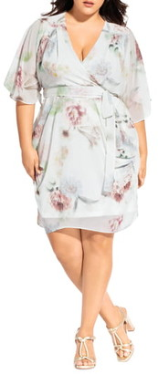 City Chic Daydream Floral Wrap Dress
