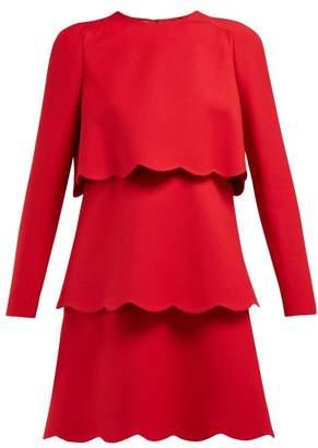 Valentino Scalloped Edge Wool And Silk Blend Mini Dress - Womens - Red