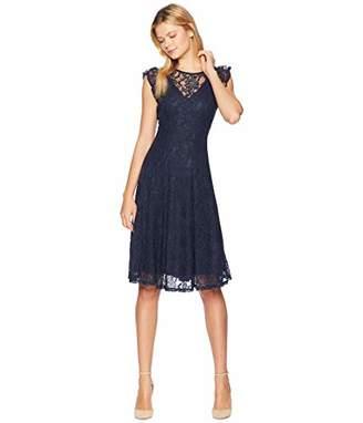 Gabby Skye Women's Short Sleeve Allover Lace V-Neck Dress