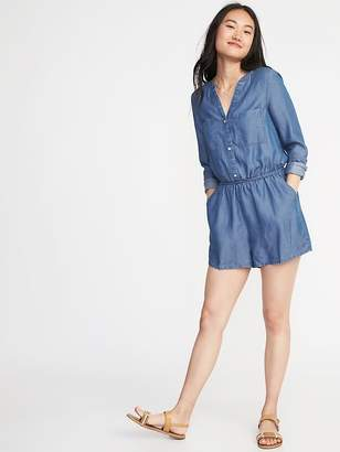 Old Navy Button-Front Tencel® Utility Romper for Women