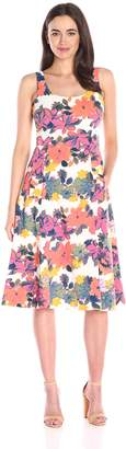 Donna Morgan Women's Sleeveless Printed Pique Midi Dress
