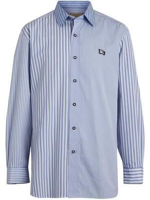 Burberry contrast stripe poplin shirt