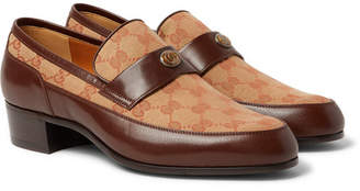 Gucci Printed Monogrammed Coated-Canvas And Leather Loafers