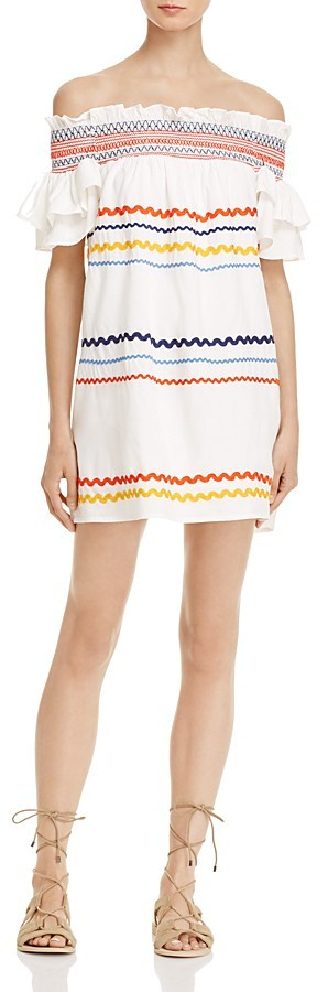 Red Carter Marilyn Ric Rac Off-The-Shoulder Dress