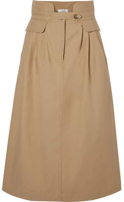 Sea Kamille Stretch-cotton Twill Midi Skirt - Camel