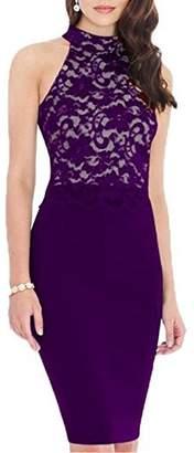 HELYO Women's Lace Midi Dress Sleeveless Party Evening Bodycon Dress Knee Length 176 (XXL,)