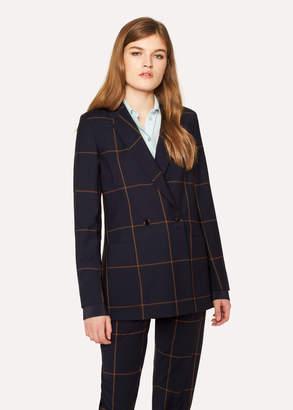 Paul Smith Women's Navy Windowpane Check Double-Breasted Wool Blazer