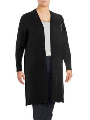 Plus Long-Sleeve Open Front Duster Cardigan