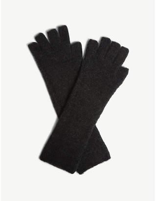 Isabel Benenato Fingerless wool-blend gloves
